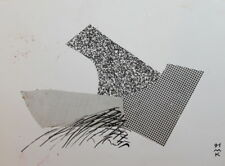 1991 Abstract Cubist Modernist Ink Collage Drawing Signed