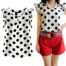EG_ Women's Polka Dots Chiffon Blouse Cap Sleeve T-shirt Summer Tops Cheap