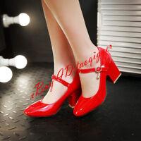Women Formal Dress Shoe OL Ankle Strappy Buckle Block Heels Fashion Pump Elegant
