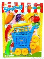 Kids Pretend Play Supermarket Shopping Trolley Toy With Fruits