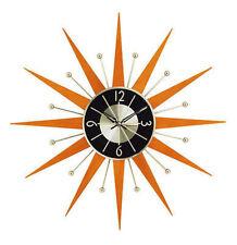 George Nelson Midcentury Modern Style Wooden Starburst Clock