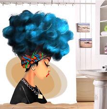 "Waterproof Fabric 60x72"" Shower Curtain Afro Blue Hair African Black Girl Design"