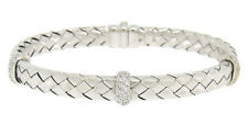"14k White Gold .40ctw Pave Round Diamond Basket Weave 7.25"" Open Bangle Bracelet"