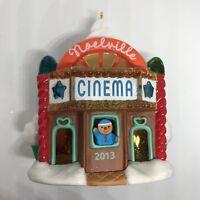 "Noelville Cinema 2013 Hallmark Ornament Gingerbread House Movie Theater 3.5"" New"