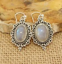 Large Oval Ethnic Moonstone 925 Silver Drop Earrings Indian Jewellery