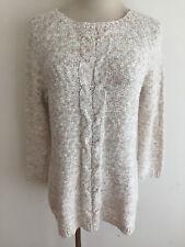 Lands' End Cotton Tunic Sweater White & Tan Melange Size S(6-8)