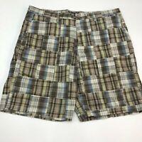 Sonoma Bermuda Shorts Men's Size 40 Brown Blue Gray Madras Flat Front Cotton