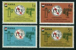 Ghana 204-207,207a sheet,MNH.Michel 210-213,Bl.17. ITU-100,1965.Emblem,flag