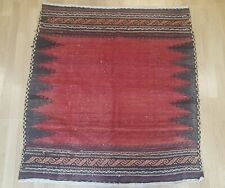 Red Black Traditional Turkish Kilim Area Rug 4x4 Morocco Berber Outdoor Carpet