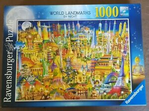 JIGSAW Ravensburger 1000 Piece Puzzle WORLD LANDMARKS BY NIGHT Checked COMPLETE