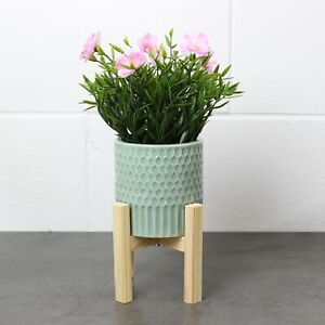 Large Ceramic Planter Pot Flower Plant Indoor Display on Wooden Stand Home Decor