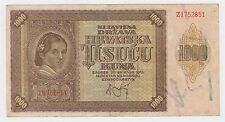 1000 kuna 1941 Croatian banknotes Hrvatska NDH Ante Pavelić Germany Italy WWII !
