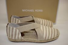 NIB MICHAEL KORS Size 6 Women's Khaki Stripe Canvas DANA ESPADRILLE Slip On