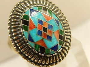 CAROLYN POLLACK RELIOS Inlaid Turquoise Coral RING Sz 8 1/4 Southwestern STERLIN