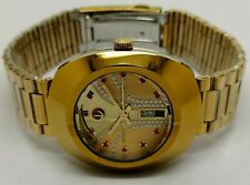 RADO DIASTAR MEN AUTOMATIC DAY DATE MOD. WORKING USED WATCH GOLDEN DIAL RUN