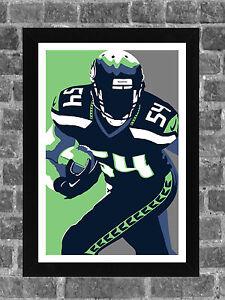 Seattle Seahawks Bobby Wagner Portrait Sports Print Art 11x17
