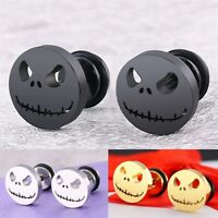 Men Women Titanium Stainless Steel Ear Stud Earring Punk Halloween Evil Skull