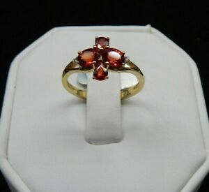 Size 7 Genuine Ruby & White Zircon 10K Yellow Gold Ring 1.44cts