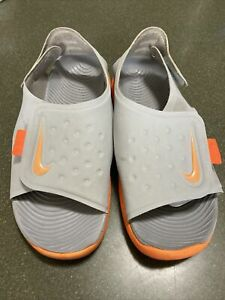 Youth Boys Size 4 Nike Sunray Sandals - Grey and Orange EUC