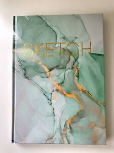 """New Sketchbook Mint Green And Gold Sealed In Packaging 8"""" X 11"""" Draw Paper"""