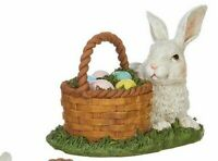 Easter Bunny sitting by basket of colorful Easter Eggs Figurine New Spring Decor