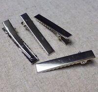 Silver MEDIUM crocodile alligator hair clip 46mm - pack of 20