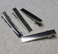 Silver LONG crocodile alligator hair clip 57mm - pack of 20
