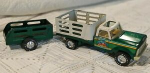 Vintage Nylint Pressed Steel Nylint Farms Green Truck And Trailer Set Rare