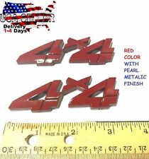 X2 Pieces RED 4 X 4 EMBLEM 4X4 Truck Badge Logo decal SUV SIGN Hood FITS ANY CAR