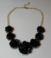 """16"""" - 19"""" BLACK ROSE FLOWERS GOLD PL FILIGREE NECKLACE. EARRINGS LISTED TOO"""