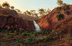 Eugene von Guerard - Waterfall on the Clyde River, Tasmania Poster, Canvas Print