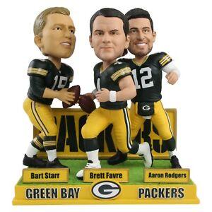 Bart Starr Favre Rodgers Green Bay Packers Quarterbacks Triple Bobblehead NFL
