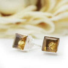 Citrine Studs Genuine Silver 925 Square Earrings CUTSTONE Rectangular Yellow QS