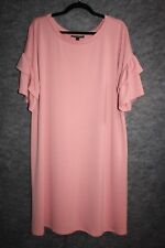 LANE BRYANT FLUTTER-SLEEVE SWEATSHIRT DRESS ROSE PINK 14/16