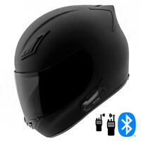 2021 Motorcycle Helmet with Intercom Bluetooth Headset + Smoked Shield