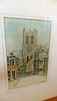 Christchurch Priory,  vintage  watercolour ink  painting by Olive R. Garfield