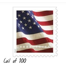 USPS Flag Forever Coil of 100 Postage Stamps, Stamp Design May Vary (SEALED) W10