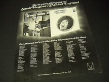 Sarah Vaughan and Michel Legrand .love affair going on 1972 Promo Poster Ad