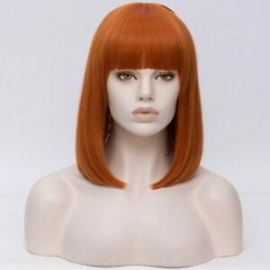 14inch Cosplay wig no lace Full Head Synthetic hair Orange Women Fashion