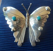 Attractive Mexican Sterling Silver & Turquoise Butterfly Brooch - Mexico c.1960s