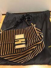 FENDI Pequin Velveteen Stripe Black Lucite Chain Handbag  !!! LUCLEV