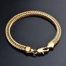 New Women Men 18K Yellow Gold Bracelet Bangle Chain Fashion Punk Jewelry Gifts