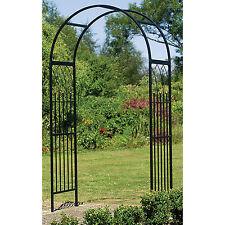 Metal Garden Arch Steel Arbor Westminster Frame Black Yard Decor Iron Door Style