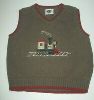 BOYS GOOD LAD TAUPE TRAIN V-NECK SWEATER VEST SIZE 18 MONTHS