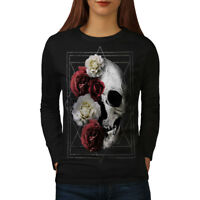 Wellcoda Skull Rose Flowers Womens Long Sleeve T-shirt, Devil Casual Design