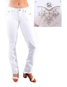 LA Idol Bootcut Jeans Womens WHITE Denim Jean Stretch Boot cut LEG LOT-NEW-