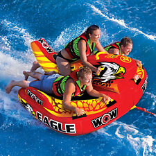 WOW Watersports Eagle Hybrid 3 Rider Inflatable Water Tube Boat Towable 17-1040