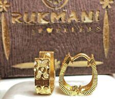 VINTAGE ESTATE 22K GOLD EARRINGS HOOP  RUKMANI JEWELERS  HUGGIE INDIA