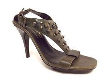 DONALD PLINER Size 6 NEKITA Green Leather Studded Halter Heels Sandals Shoes