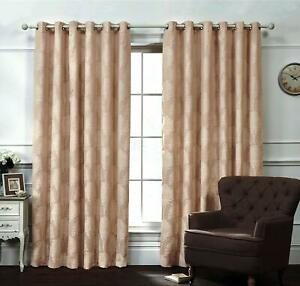 PAIR OF READY MADE FULLY LINED EYELET RING TOP CURTAINS